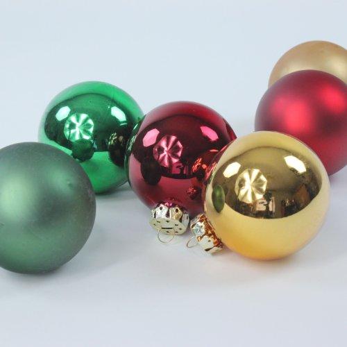 Weihnachtskugeln Christbaumkugeln Tradition, 35 Stück, rot gold grün, 6 cm