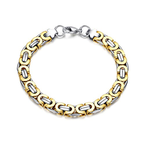 vnox-mens-stainless-steel-tow-tone-byzantine-bicycle-chain-link-bracelet-silver-gold225cm