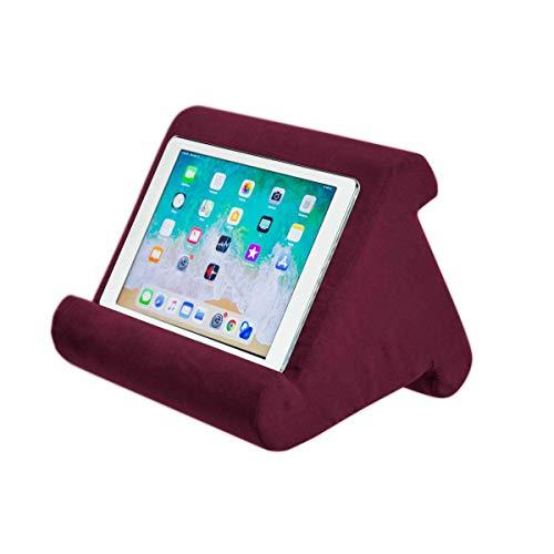 WYFC Flippy Multi-Angle Soft Pillow Lap Stand Mobile Halterung für iPads, Tablets, E-Reader, Smartphones, Bücher und Zeitschriften,Red