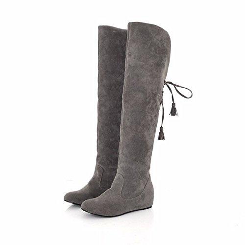 Womens Lace Up Snow Boot Scrub Leisure stivali inverno neve pelliccia pioggia calda aumentata ginocchio (Grigio Suede Piattaforma)