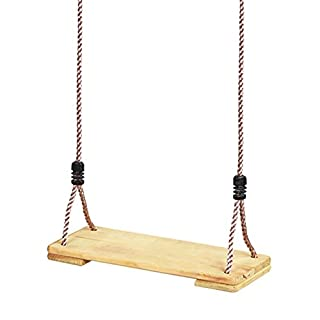 Garden Games Pine Wooden Swing Seat with Adjustable Silky Feel Polypropylene Ropes