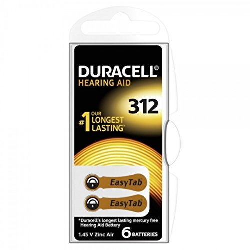 Batería para prótesis auditiva Duracell 312AE 6unidades bajo blister, 1,4V, Zink-Luft [batería de prótesis auditiva]
