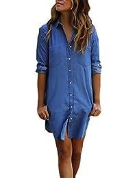 16bad68548 Vestido Vaquero Mujer Azul Elegantes Manga Larga De Solapa Un Solo Pecho  Casual Hippie Primavera Otoño Vestidos Cortos Vestidos…