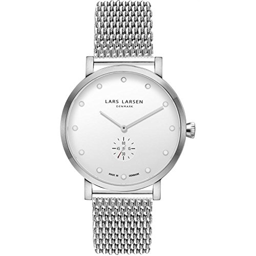 'Lars Larsen Christopher Silver/White Mesh 41 mm Watch