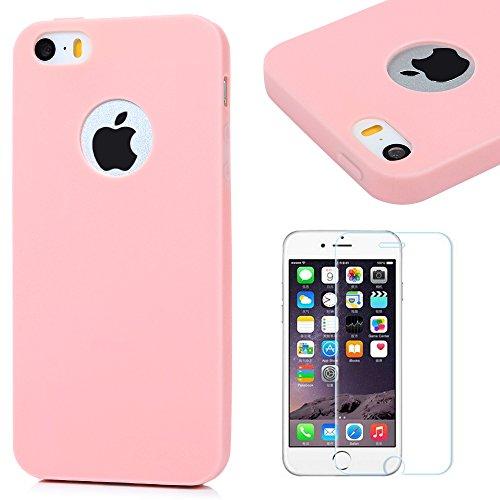 Funda iPhone 5s Silicona Rosa,iPhone SE Case Gel TPU - Mavis's Diary Suave Carcasa Cover Bumper Shock-Absorción y Anti-Arañazos para iPhone 5 /5s,iPhone SE + Un Protector Cristal Templado de