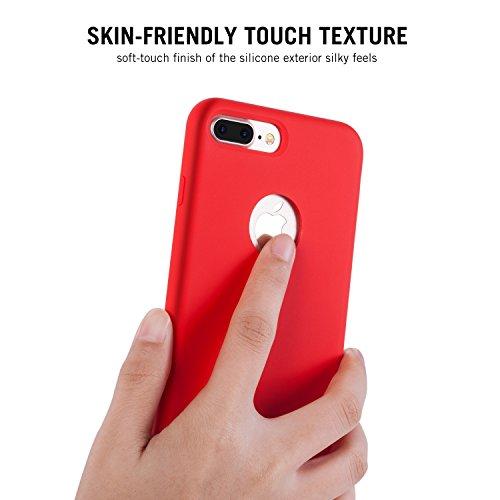RANVOO [RAINBOW] iPhone 7 Plus Hülle, Extrem Hochwertigem Silikon Gehäuse + Microfaser Innenmantel Anti-Fingerabdruck Anti-Kratzer Case, Schwarz Rot