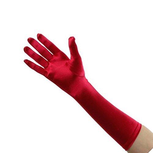 Mujer elegante longitud hasta codo guantes satén
