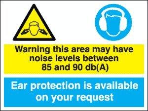 Warnung-Gebotszeichen Geräuschpegel 85 dB - 90 dB/Gehörschutz erhältlich (1 mm Hart-Kunststoff, 400 x 300 mm)