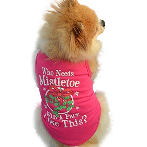 (Weihnachten Nette Haustier Kleidung, Hmeng Heißrosa Baumwolle Hund Weste Niedlichen Brief Drucken Welpen T-shirt Haustier Katze Pullover (L, Heiß Rosa))