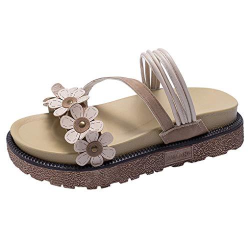 Flache Plattform für Damen,Dorical Damenschuhe Low-Top Dicke Sandalen Hausschuhe Blume Open Toe Slippers Sandals,rutschfest Strandschuhe 35-40 EU Reduziert(Beige,37 EU)