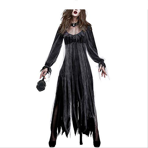 Cyymy costume da diavolo morto sposa fantasma per donna adulto halloween night abito lungo nappa cosplay esegui costumi da festa party decorazione,nero,xl