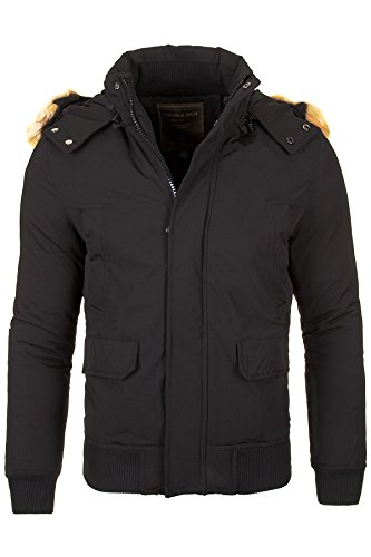 Jacke Gefütterte Herren Winterjacke Kapuze Schwarz Parka Mantel Young & Rich by Fashion & Design