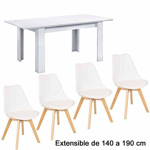 Conjunto Bar, 4 Sillas + Mesa de comedor extensible de 140 a...