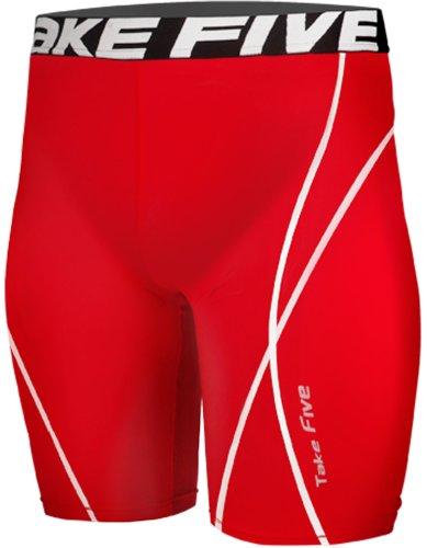 new-083-skin-calze-a-compressione-strato-base-rosso-pantaloni-pantaloncini-da-corsa-da-uomo-red-medi