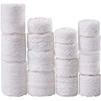 Whaline 15 Rolls White Lace Ribbon Assorted Lace Trim, Vintage Lace Ribbon for Sewing and Bridal Wedding Scalloped Decorations, 49 Yard