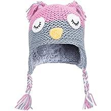 Mountain Warehouse Gorro de punto Owl para niños Rosa Talla única