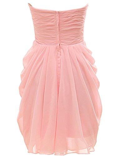 Bridal_Mall Damen Herzform Brautjungfernkleid Kurz Einfach Chiffon Cocktailkleid Partykleid Rosa