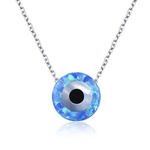 Colgante redondo de ojo turco azul plata de ley 925 ópalo sintético para mujer cadena 40,64 cm - 40,64 cm - 45,