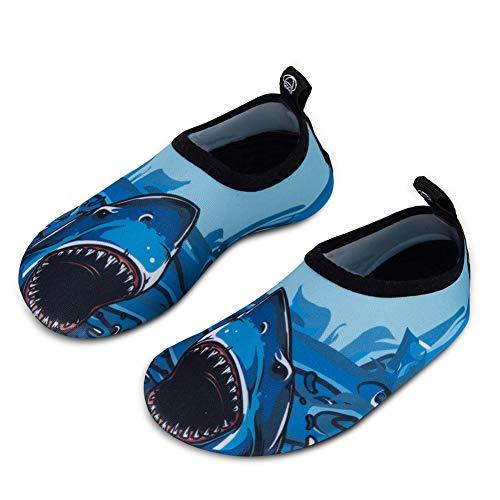 IceUnicorn Kinder Strandschuhe Jungen Mädchen Schwimmschuhe Aqua Schuhe Baby Badeschuhe für Beach Pool Surfen Yoga Unisex(Großer Hai, 30/31EU)