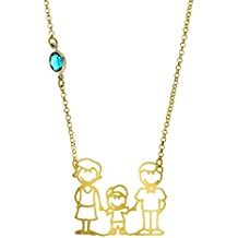 Córdoba Jewels | collana in argento Sterling 925placcato oro e pietra nuumite. Motivo Family turchese
