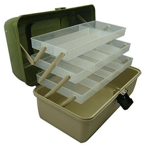 3 Box Cantilever Angelbox/Angelkoffer, Basteln, Caddy, verstellbare Fächer, Lunar Box reg; grün grün