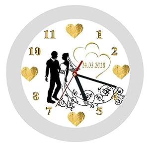 Wanduhr 12 -Geschenk-Brautpaar-Hochzeitstag-Hochzeitstaggeschenk-Ehe-Herzen-goldene Hochzeit-personalisiert *KEIN TICKEN…