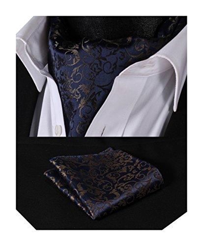 Hisdern Herren Floral Paisley Jacquard gewebt Ascot Set Marineblau/Braun (Krawatte Herren Seide Schal)