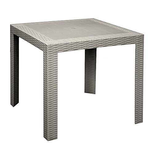 Areta Saturno-T Table d'appoint Simil rotin Couleur taupe Ameublement extérieur 80 x 80 cm