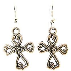 TANGLZ Pendientes de plata, diseño de cruz celta medieval Envío gratuito