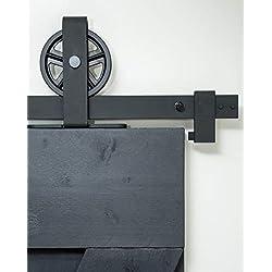 Système de porte coulissante avec roulettes et rail de 2 mètres Système de porte coulissante