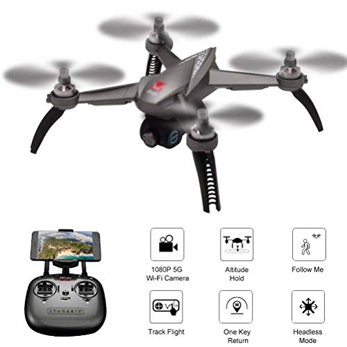 RC-Drohne mit 1080P HD-Kamera, Live-Video, GPS-Satelliten-Quadcopter mit Verstellbarer Weitwinkelkamera, Signalverlust/Unkontrollierbar - Grau
