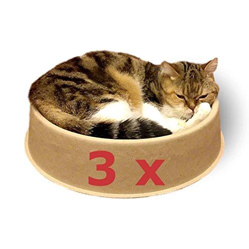 Kittydoo lettino per gatti comfycat confezione da 3 - cuccia per gatti tonda, comoda, sana, resistente ai graffi in carta