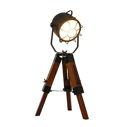 Industrielle Vintage Tischstativ Lampen, Vintage verstellbare Tischlampe aus Holz Stand Lampe schwarz, Antik Home Decor Scheinwerfer Tischlampe, Mini Stativ Light-Vintage verstellbare Tischlampe E27 (Antike Lampe Stand)