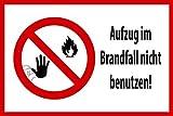 Aufzug Schild -813s- Brandfall 2 29,5cm * 20cm * 2mm, mit 4 Eckenbohrungen (3mm) inkl. 4 Schrauben