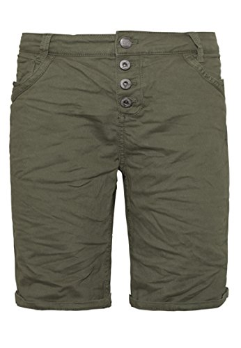 Urban Surface Damen Bermuda Shorts | Bequeme Kurze Stoffhose aus Stretch-Twill - Loose Fit Green S (Short Schräge)