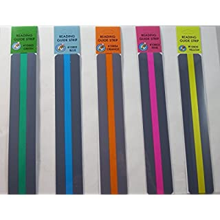 Reading Guide Highlighter Strips, Set of 5 (Blue, orange, green, pink and yellow) by Ashley Productions