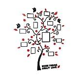 VORCOOL Wandtattoo Ftobaum 3D Acryl Familienbaum Wandaufkleber für Wanddeko 82.4x100 CM (Schwarz und Rot)