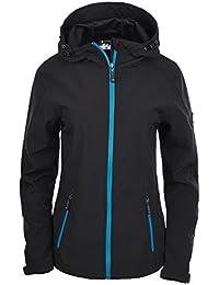 Hi-Tec – Mujer Lady atino Softshell Jacket, mujer, LADY ATINO, Black/Sea Blue, extra-large
