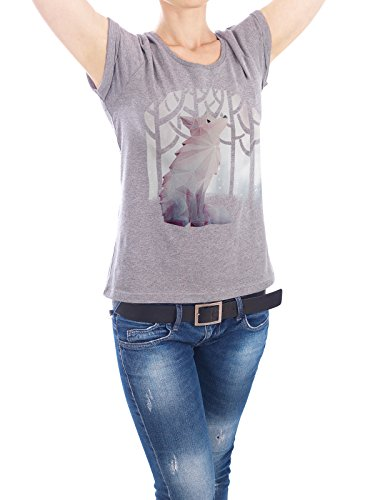 design-t-shirt-frauen-earth-positive-fox-in-the-snow-in-grau-gre-xl-stylisches-shirt-tiere-geometrie