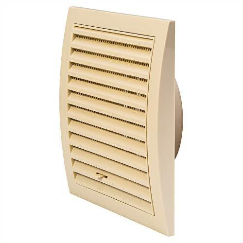 Ø 125mm Creme Lüftungsgitter 190 x 190mm mit Schieberegler Abschlussgitter Insektenschutz ABS-Kunststoff Gitter