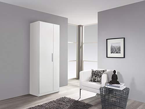 Rauch Möbel Minosa Schrank Garderobenschrank Drehtürenschrank 2-türig, Weiß, inkl. Zubehörpaket Basic 2 Einlegeböden 1 ausziehbarer Kleiderbügelhalter, BxHxT 69x197x41 cm