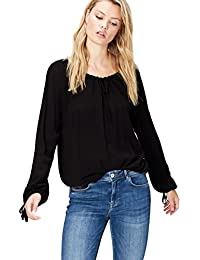 FIND Women's Blouse in Drawstring Peasant Style Long Sleeve
