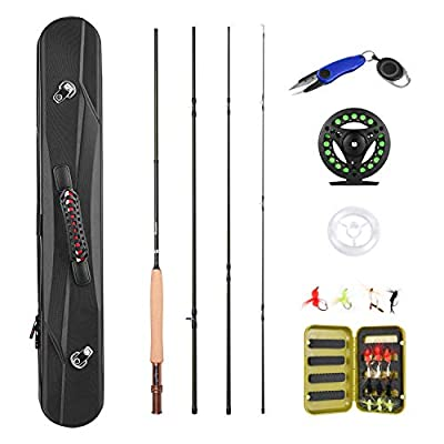 Magreel Fly Fishing Rod Combo with Portable Lightweight 4 Piece Fly Fishing Rod 5/6 2.7M, Fly Fishing Reel, Fly Fishing Flies, Fishing Line Scissors and Fishing Gear Carrier Case