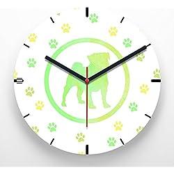 Reloj de pared 30 cm con ilustración estampado perro carlino colores huellas