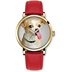 iCreat Women Ladies Girls Analog Wrist Watch Red Genuine Leather Strap Dial with Dog Doggies
