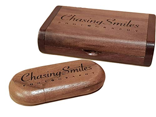 Personalisierte lasergravierte USB-Stick USB-Box aus massivem Holz anpassen Speicherplatte für Hochzeitsfotos, Hochzeitszeremonie, Firmenanpassung, Persönliches Geschenk (32G, Walnut)