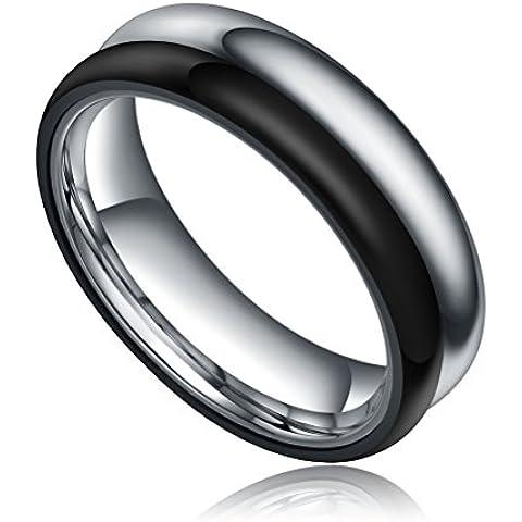 In acciaio INOX, 6 mm, finitura lucida, due tonalità, Comfort-Anello a fascia da matrimonio, colore: Nero/Argento