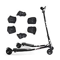FoxHunter Kids Black Mini Tri Push Scooter Swing Motion Trike Slider Striker Drifter
