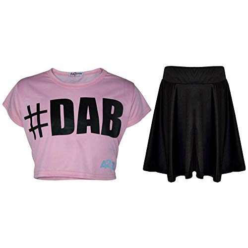 A2Z 4 Kids® Kinder Mädchen Comic Graffiti Scribble Leopard - #Dab Baby Pink Crop & Skirt Set 9-10 Baby Leoparden Rock