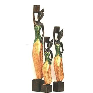 Wohnkult Afrika Damen 3 er Set Figuren 80 cm 60 cm 50 cm Skulpturen Abstrakt Figuren